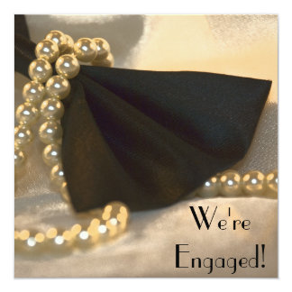 """Bow Tie and Pearls Engagement Party Invitation 5.25"""" Square Invitation Card"""