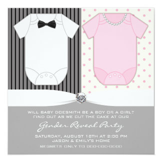 Bow Tie and Pearls Gender Reveal Card