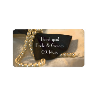 Bow Tie and Pearls Wedding Thank You Favor Tags