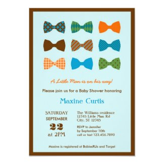"Bow Tie Baby Shower Invitation 5"" X 7"" Invitation Card"