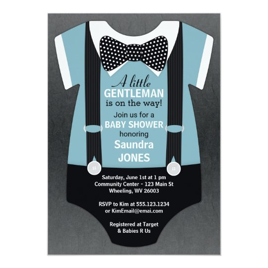 Bow Tie Baby Shower Invitation Suspender Invite