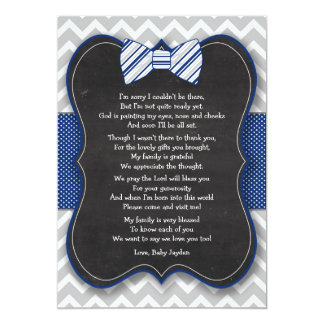 Bow Tie Baby Shower thank you notes with poem Card