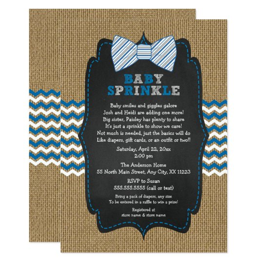 Bow Tie Baby Sprinkle Invitations Boy Shower Invitation