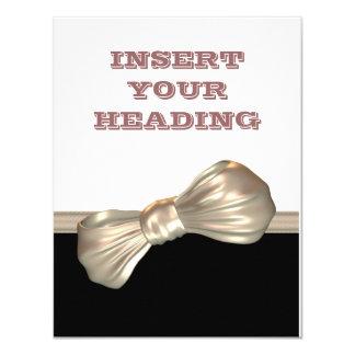 Bow tie black white cream card
