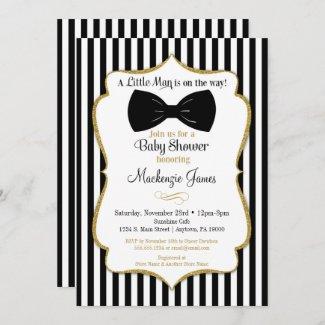 Bow Tie Boy Baby Shower Invitation Black Gold