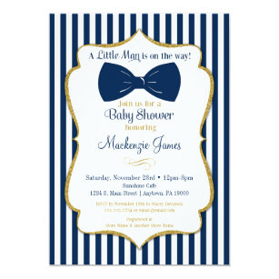 Bow Tie Boy Baby Shower Invitation Navy Blue Gold