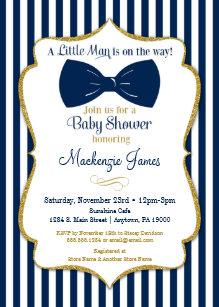 Bow tie invitations zazzle bow tie boy baby shower invitation navy blue gold filmwisefo