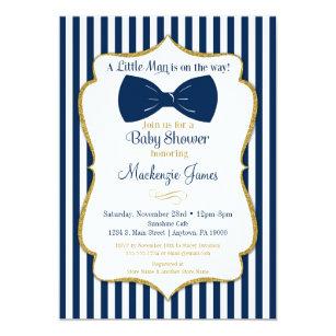 Bow Tie Boy Baby Shower Invitation Navy Blue Gold