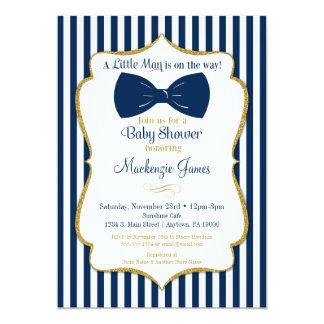 Lovely Bow Tie Boy Baby Shower Invitation Navy Blue Gold