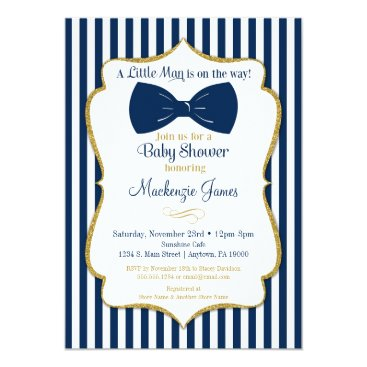 Toddler & Baby themed Bow Tie Boy Baby Shower Invitation Navy Blue Gold