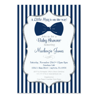 Bow Tie Boy Baby Shower Invitation Navy Silver