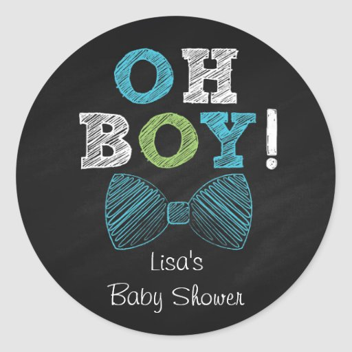 Bow Tie Chalkboard Baby Shower Classic Round Sticker