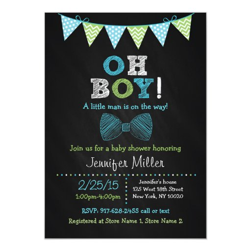 Bow Tie Chalkboard Oh Boy Baby Shower Invitations