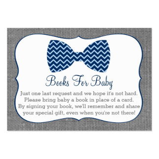 Bow Tie Chevron Baby Shower Book Request Cards Large Business Cards (Pack Of 100)