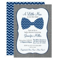 Bow Tie Chevron Baby Shower Card
