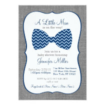 Bow Tie Chevron Baby Shower Invitations