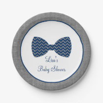 Bow Tie Chevron Baby Shower Paper Plate