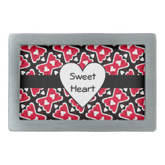 Bow-tie Frilly Hearts Red-White-Black Sweetheart Belt Buckle