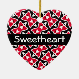 Bow-tie Frilly Hearts Red-White-Black Sweetheart Ceramic Ornament