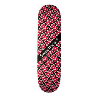 Bow-tie Frilly Hearts Red-White-Black Sweetheart Custom Skateboard