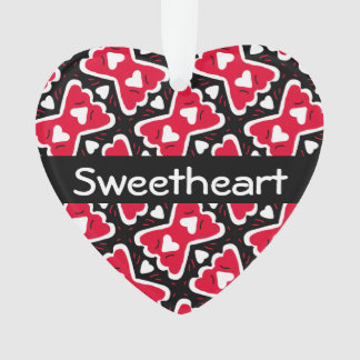 Bow-tie Frilly Hearts Red-White-Black Sweetheart Ornament