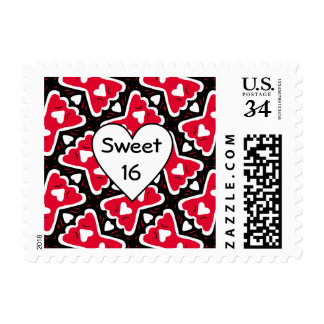 Bow-tie Frilly Hearts Red-White-Black Sweetheart Postage