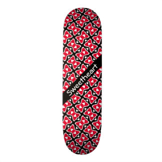 Bow-tie Frilly Hearts Red-White-Black Sweetheart Skateboard Deck