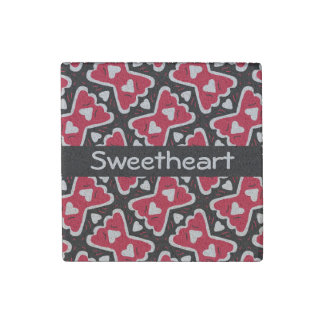 Bow-tie Frilly Hearts Red-White-Black Sweetheart Stone Magnet