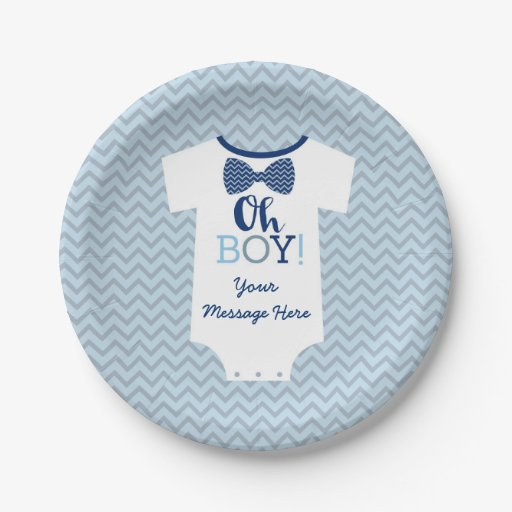 Bow Tie Little Man Baby Shower Paper Plate