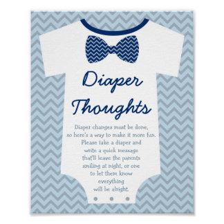 Bow Tie Little Man Diaper Thoughts Poster