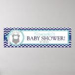 Bow Tie & Navy Chevron Print Baby Shower Banner