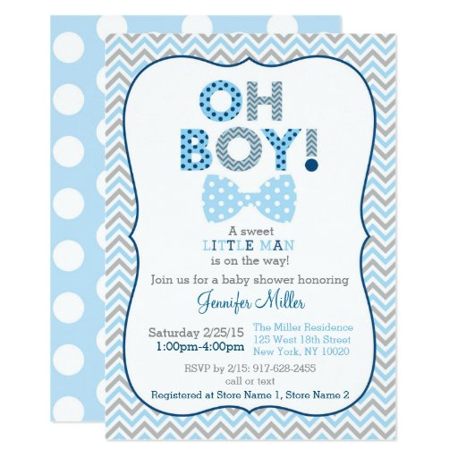 Bow Tie Oh Boy Baby Shower Card