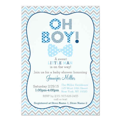 Bow Tie Oh Boy Baby Shower Invitations