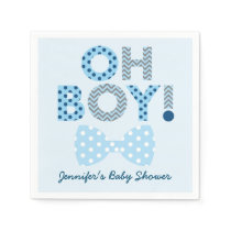 Bow Tie Oh Boy Baby Shower Paper Napkin