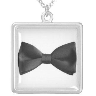 bow tie square pendant necklace