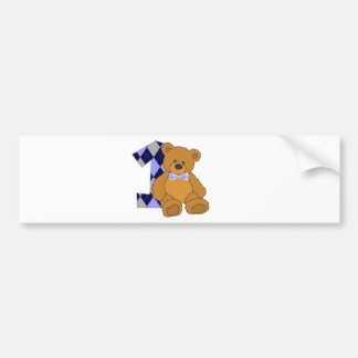 Bow Tie Teddy Bear with Number 1 Bumper Sticker