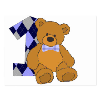Bow Tie Teddy Bear with Number 1 Postcard