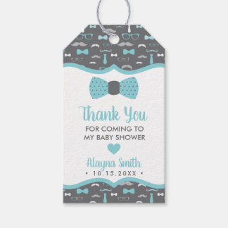 Bow Tie Thank You Favor Tag, Aqua, Gray Gift Tags