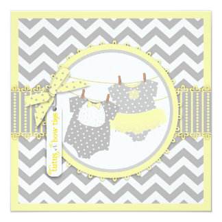 Bow Tie Tutu and Chevron Print Gender Reveal Party Personalized Invites