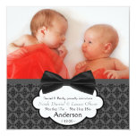 Bow Tie Twin Baby Boy Photo Birth Announcement