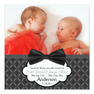Bow Tie Twin Baby Boy Photo Birth Announcement