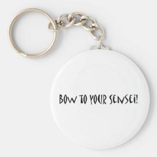 Bow to your sensei basic round button keychain