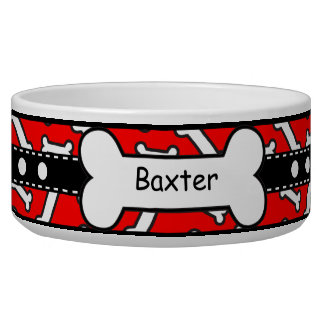 Bow Wow Doggie Bones Colorful Red and Black Dog Water Bowls