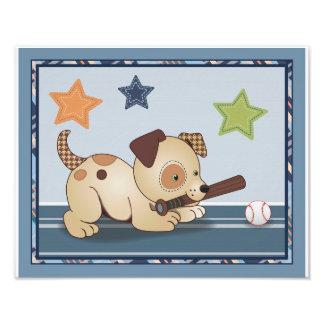 Bow Wow Puppy Buddies Baseball Dog Nursery Art Photo Print