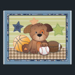 "Bow Wow Puppy Buddies Sports Dog Nursery Art Photo Print<br><div class=""desc"">This loveable pup is one of a series of six coordinating designs that were created to match the bow wow buddies nursery bedding collection.  Please check out the other five!</div>"