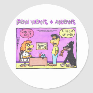BOW WOWS & MEOWS - Cat or dog? Classic Round Sticker