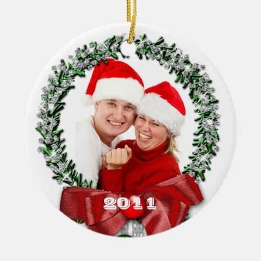 Bow Wreath Family Photo Christmas Ornament