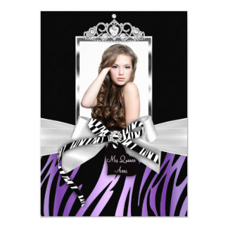 Bow & Zebra Print Purple Black Photo Quinceanera Card