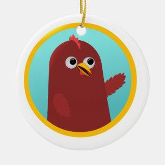 Bowawk el pollo adorno navideño redondo de cerámica