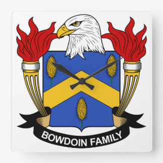 Bowdoin Family Crest Square Wall Clock